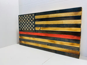 Handmade Rustic Thin Red Line Wooden American Flag with 50 Star Carved Union to Support Firefighters Indoor/Outdoor Wall Art