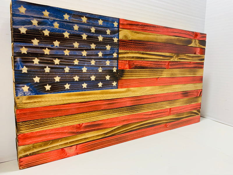 Handmade Rustic Wooden American Flag  Indoor Outdoor Patriotic Wall Art