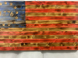 Gorgeous Handmade Rustic Betsy Ross 1776 Wooden American Flag with Carved 13 Star Union Patriotic Wall Art
