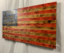 Load image into Gallery viewer, Gorgeous Handmade Rustic Betsy Ross 1776 Wooden American Flag with Carved 13 Star Union Patriotic Wall Art