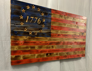 Rustic Betsy Ross 1776 Handmade Wooden American Flag Indoor Outdoor Patriotic Wall Art