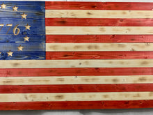 Load image into Gallery viewer, Betsy Ross 1776 Handmade Wooden American Flag Indoor Outdoor Patriotic Wall Art