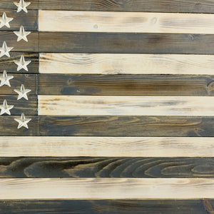 Greyscale Handmade Wooden American Flag Indoor Outdoor Americana Patriotic Decor