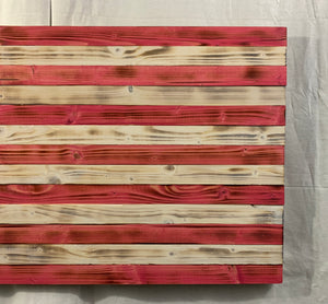 Pink and White Hand Made Wooden Flag with Carved Hearts Union Speciality Wall Art