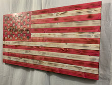 Load image into Gallery viewer, Pink and White Hand Made Wooden Flag with Carved Hearts Union Speciality Wall Art