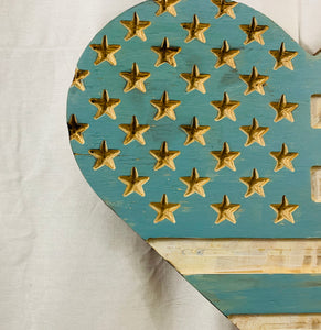 Blue and White  Handmade Wooden Rustic Heart Flag Patriotic Wall Art