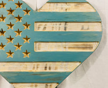 Load image into Gallery viewer, Blue and White  Handmade Wooden Rustic Heart Flag Patriotic Wall Art