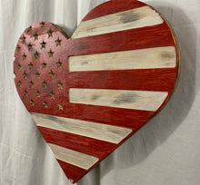 Load image into Gallery viewer, Red and White Handmade Wooden Vintage Rustic Heart Flag Featuring Carved Stars