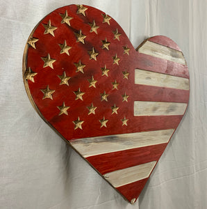 Red and White Handmade Wooden Vintage Rustic Heart Flag Featuring Carved Stars