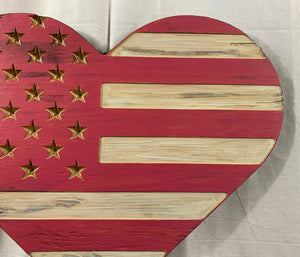 Pink and White Handmade Wooden Rustic Heart Flag with Carved Stars Americana Wall Art