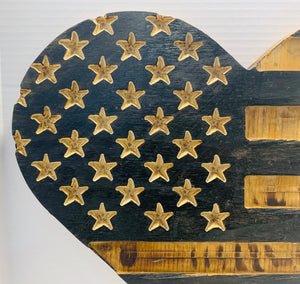 Natural Finish Rustic Wooden Heart Flag with Carved Stars Indoor Outdoor Wall Art