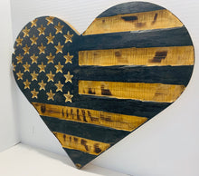 Load image into Gallery viewer, Natural Finish Rustic Wooden Heart Flag with Carved Stars Indoor Outdoor Wall Art