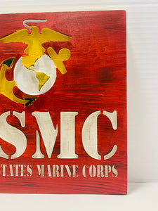 United States Marine Corps Handmade Wooden Sign, Red with White Lettering and Yellow Highlights Patriotic U.S. Military Wall Art - Flags Forever