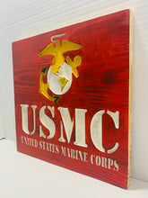 Load image into Gallery viewer, United States Marine Corps Handmade Wooden Sign, Red with White Lettering and Yellow Highlights Patriotic U.S. Military Wall Art - Flags Forever