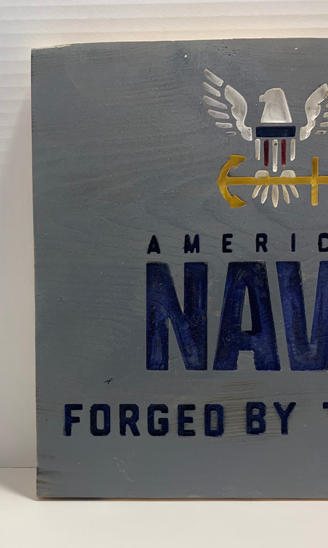 United States Navy Forged By The Sea Handmade Wood Sign, Grey With Blue Lettering US Military Wall Hanging - Flags Forever