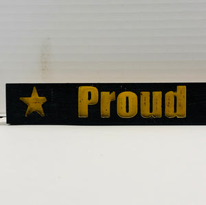 Proud Army Dad Black with Yellow Lettering Handmade Wood Sign Hand Stained with Carved Letters and Stars - Flags Forever