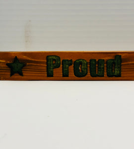 Proud Army Mom Pecan and Green Handmade Wooden Sign Hand Stained with Carved Letters and Stars Military Mom Gift - Flags Forever