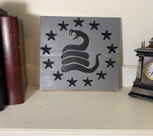 Load image into Gallery viewer, Don't Tread On Me Betsy Ross Union Handmade Wooden Wall Art Grey and Black with 13 Carve Stars and Timber Rattlesnake - Flags Forever