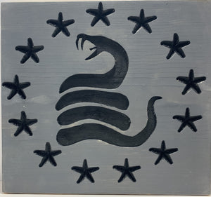 Don't Tread On Me Betsy Ross Union Handmade Wooden Wall Art Grey and Black with 13 Carve Stars and Timber Rattlesnake - Flags Forever