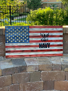 Handmade 50 Star American Flag with United States Navy Insignia, Red White and Blue with Black Logo Indoor Outdoor Wall Art - Flags Forever