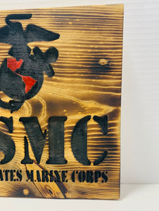 United States Marine Corps Handmade Wooden Sign, Natural Stain Finish with Black Lettering Patriotic U.S. Military Plaque - Flags Forever