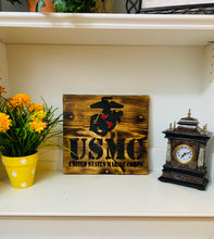 Load image into Gallery viewer, United States Marine Corps Handmade Wooden Sign, Natural Stain Finish with Black Lettering Patriotic U.S. Military Plaque - Flags Forever