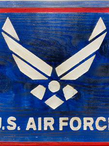 United States Air Force Handmade Wooden Sign, Red, White and Blue Finish Patriotic U.S. Military Plaque - Flags Forever