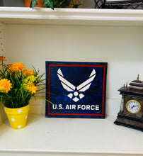Load image into Gallery viewer, United States Air Force Handmade Wooden Sign, Red, White and Blue Finish Patriotic U.S. Military Plaque - Flags Forever