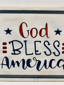 God Bless America Handmade Wooden Sign, Red, White and Blue Patriotic Home Decor - Flags Forever