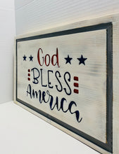 Load image into Gallery viewer, God Bless America Handmade Wooden Sign, Red, White and Blue Patriotic Home Decor - Flags Forever