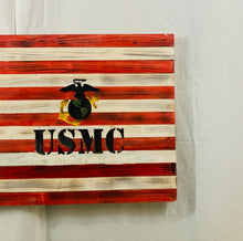 Load image into Gallery viewer, Handcrafted Wooden American Flag, Red, White and Blue with US Marine Corps Carved Insignia Patriotic Military Wall Art - Flags Forever