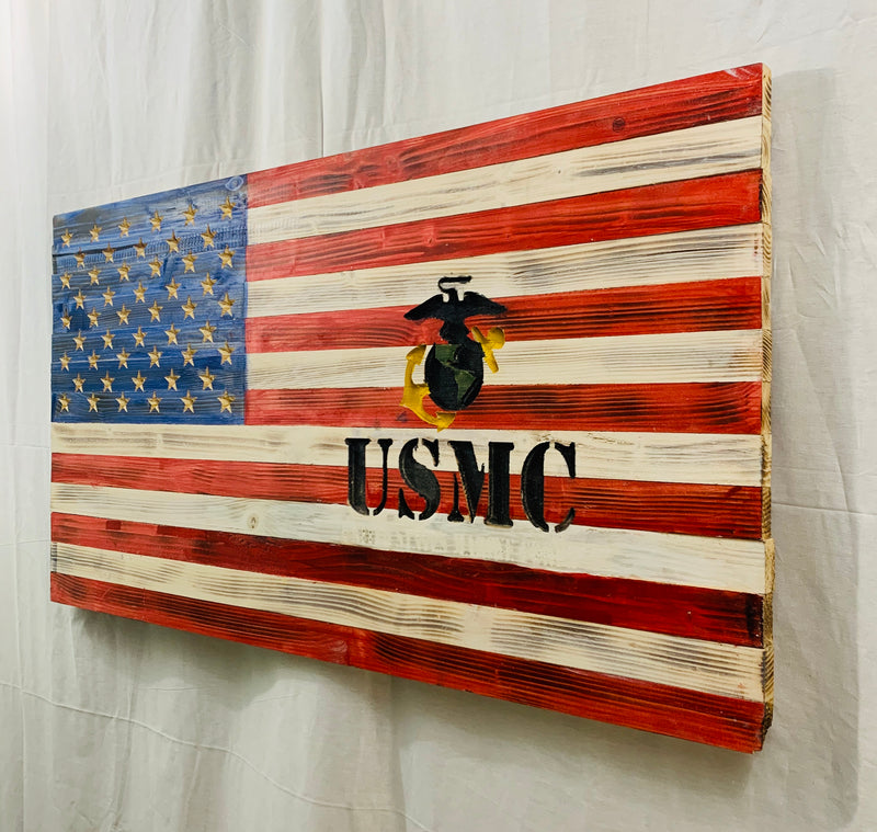 Handcrafted Wooden American Flag, Red, White and Blue with US Marine Corps Carved Insignia Patriotic Military Wall Art - Flags Forever