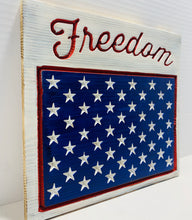 Load image into Gallery viewer, Freedom Handmade Patriotic Wooden Plaque, Red White and Blue with 50 Stars Americana Home Decor - Flags Forever