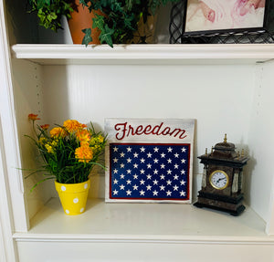 Freedom Handmade Patriotic Wooden Plaque, Red White and Blue with 50 Stars Americana Home Decor - Flags Forever