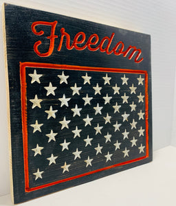 Freedom Handmade Patriotic Wooden Sign, Black and Orange with 50 Stars Americana Home Decor - Flags Forever