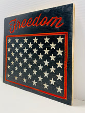 Load image into Gallery viewer, Freedom Handmade Patriotic Wooden Sign, Black and Orange with 50 Stars Americana Home Decor - Flags Forever