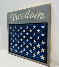 Load image into Gallery viewer, Freedom Handmade Patriotic Wooden Sign, Blue and Grey with 50 Stars Americana Home Decor - Flags Forever