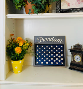 Freedom Handmade Patriotic Wooden Sign, Blue and Grey with 50 Stars Americana Home Decor - Flags Forever
