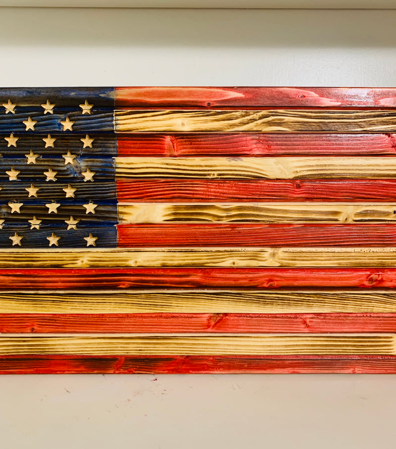 Rustic Handmade Distressed Finish Small Wooden American Flag Patriotic Indoor/Outdoor Wall Hanging