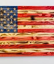 Load image into Gallery viewer, Handmade  Large Rustic Red Wooden American Flag, Indoor/Outdoor Hand-Torched Patriotic Wall Art 37 X 19.5 X 1.5 Inch