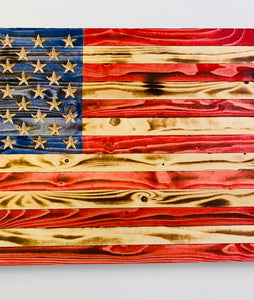 Handmade  Large Rustic Red Wooden American Flag, Indoor/Outdoor Hand-Torched Patriotic Wall Art 37 X 19.5 X 1.5 Inch