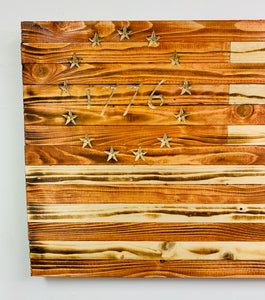 Large Betsy Ross 1776 Handmade Wooden Flag with Natural Pecan Finish, Carved Union with 13 Stars Indoor/Outdoor Patriotic Wall Art
