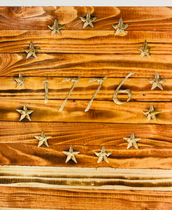 Large Betsy Ross 1776 Handmade Wooden Flag with Natural Pecan Finish Indoor Outdoor Wall Art