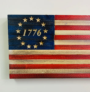 Patriotic Small Handmade Betsy Ross 1776 Wooden American Flag Outdoor Wall Hanging