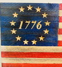 Load image into Gallery viewer, Patriotic Small Handmade Betsy Ross 1776 Wooden American Flag Outdoor Wall Hanging