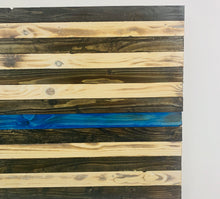 Load image into Gallery viewer, Thin Blue Line Handmade Wooden American Flag Support Police Indoor Outdoor Wall Art