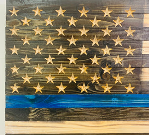 Thin Blue Line Handmade Wooden American Flag Support Police Indoor Outdoor Wall Art