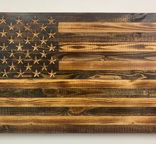 Load image into Gallery viewer, Rustic Wooden Natural Finish American Flag Indoor or Outdoor Patriotic Wall Art