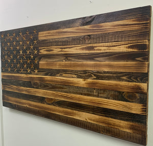 Rustic Wooden Natural Finish American Flag Indoor or Outdoor Patriotic Wall Art