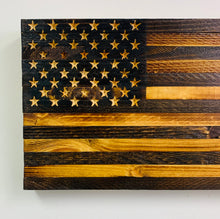 Load image into Gallery viewer, Handmade Natural Finish Wooden American Flag 18.5X9.75X1.5 Inches  Indoor/Outdoor Patriotic Wall Art